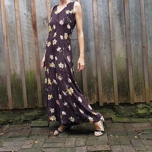 VTG 90s Chocolate Brown Jumpsuit with Buttercups